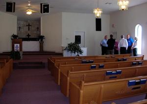 sanctuary pews empty; photo by NRT