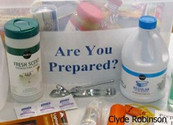 Are you Prepared? sign, cleaning supplies, etc.