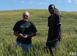two men standing in field of grain