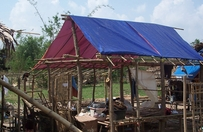 shelter covered with blue tarp