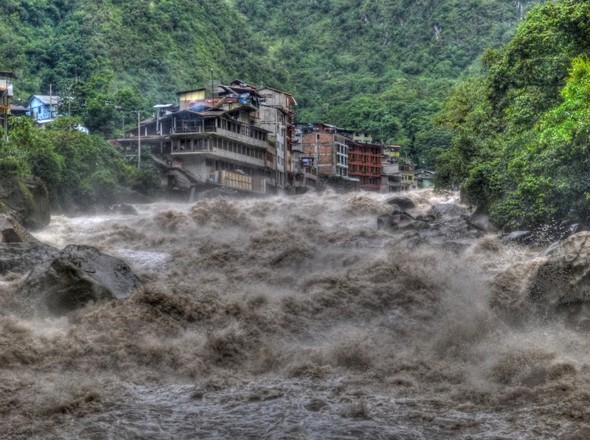 Aguas Calientes, Peru with Urubamba river raging