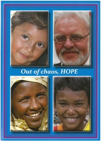 blue card featuring four faces from around the world; words Out of chaos, Hope